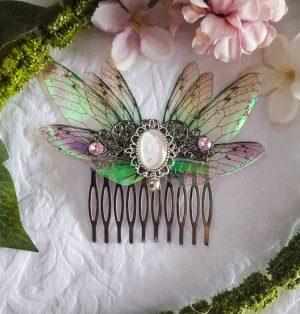 hair comb silver fairy white