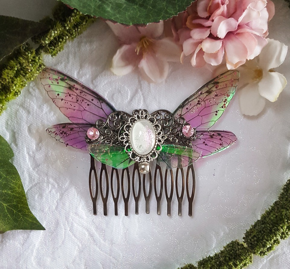 hair comb silver fairy